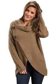 cowl sweater fashion khaki buttoned wrap cowl neck trendy sweater