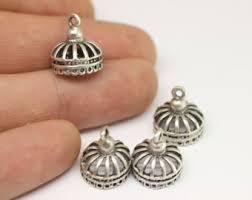 antique silver tassel cap metal bead caps antique silver charms