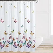 Multi Color Shower Curtains Amazon Com Eforcurtain Butterflies Print Bath Curtain Waterproof