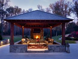 Outdoor Fireplaces And Firepits Outdoor Family Room With Freestanding Fireplace In Great Falls