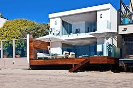 house elegant beach home decor with wooden deck and glass fence