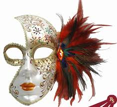 mask with feathers silver and venetian mask with feathers
