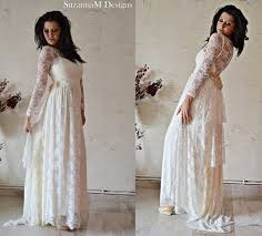 ivory lace bohemian wedding dress long bridal wedding gown