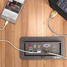 table l with usb charging port 4 port multi av to hdmi conference table switch from lindy uk