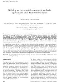 building environmental assessment methods applications and