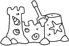 Sand Castle With Clamshell Ornament Coloring Page Download Sandcastle Coloring Page