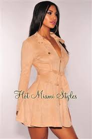 miami styles faux suede trench belted dress