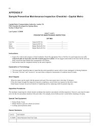 appendix f sample preventive maintenance inspection checklist
