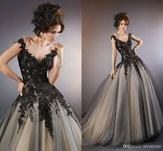 black and champagne wedding dresses 4679