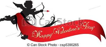 happy valentines day banner happy valentines day banner cupid silhouette with clipart