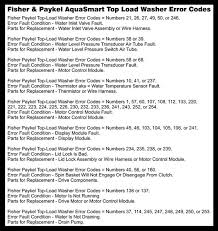 fisher u0026 paykel aquasmart top load washing machine error codes