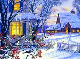 Color Houses by Winter Birds Splendor Cottage Snow Beautiful Colors Winter Lights