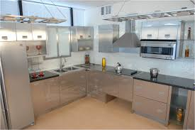 glass countertops stainless steel kitchen cabinets lighting