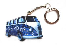 volkswagen van hippie blue vw campervan keyring blue flower hippy design vw8 amazon co