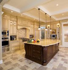Kitchens With Yellow Cabinets Beautiful Kitchen Design With Charming Three Hanging Lights