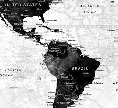 LARGE Watercolor Map World Push Pin Travel Cities Wall Black
