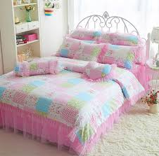 cute pink square pattern bed design for girls bedspreads with