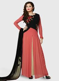 buy red and cream faux georgette anarkali suit online at best