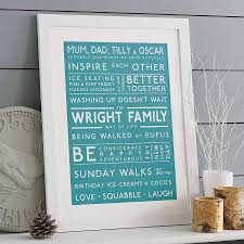 personalised family values print print gifts and bespoke