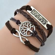 leather women bracelet images Hot sell handmade believe leather bracelet infinity tree pendant jpg