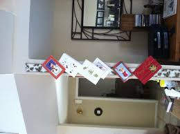 wide christmas ribbon wide christmas ribbon tacked to wall christmas cards stapled on