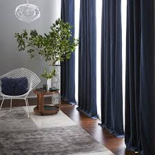 velvet pole pocket curtain blackout lining regal blue west