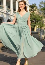 light green dress with sleeves light green plain pleated v neck sleeveless elegant chiffon maxi
