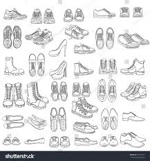 vector set sketch shoes items running stock vector 507977551