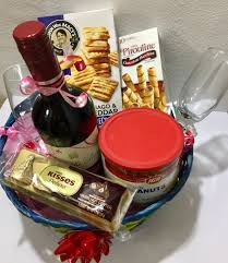 wine and cheese baskets wine gift basket embellished with cheese crackers chocolates