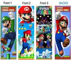 3 lot super mario brothers bookmark double sided laminated fun