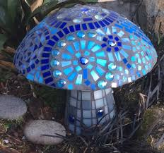 Copper Gazing Ball Blue Mosaic Mushroom I Made Inspired By All The Beautiful Gazing