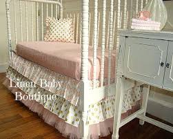 pink crib dust ruffle navy and gray woodland crib skirt box pleat