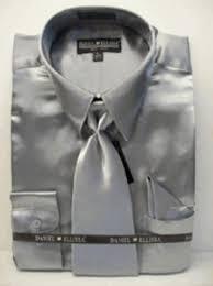 men u0027s new silver satin dress shirt tie combo shirts