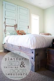 Diy Bed Platform Diy Platform Bed Salvaged Door Headboard Part One Averie