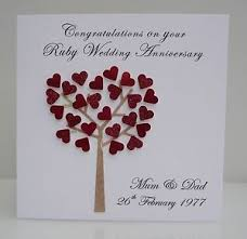 wedding anniversary cards personalised ruby wedding anniversary card 40 years any