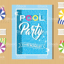 pool party invitation design template for flyer and poster stock