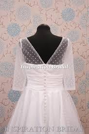 short tea length knee length polka dot wedding dress with long