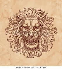 ink pen drawing lion head on stock illustration 392512987