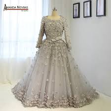 wedding dress for muslim ns1372 made flower muslim wedding dress with three