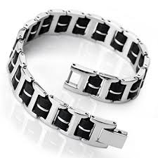 mens bracelet stainless steel rubber images Search results for mens silver bracelets pg1 wantitall jpg