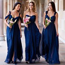 navy bridesmaid dresses blush bridal gown now what do the bridesmaids wear the knot