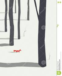 winter landscape poster background with forest and fox christmas