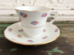 vintage teacup tea cup and saucer small pink yellow blue flowers