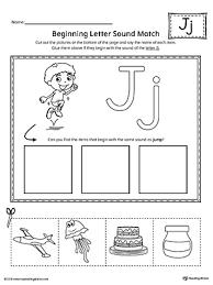 letter j beginning sound picture match worksheet