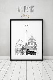 rome art print poster skyline minimalist black u0026 white wall art