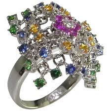 ruby emerald rings images Designer flexible gemstone mesh ring ruby sapphire emerald diamond jpg