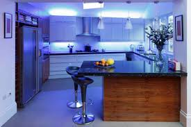 led lights under kitchen cabinets l shape small kitchen design using brown brick kitchen backsplash
