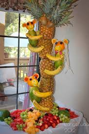 Baby Monkey Centerpieces by Pineapple Tree Centerpiece With Fruit Monkeys Monkey Pineapple