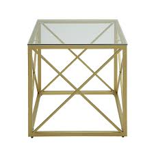 Glass Accent Table Carolina Cottage Maren Gold Cube Glass Top Accent Table Cf2020g