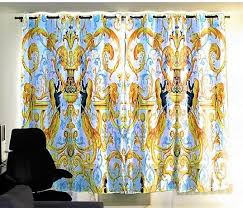 Blue And Gold Curtains Luxury Medusa Style European Curtains Blue Gold And White Panels